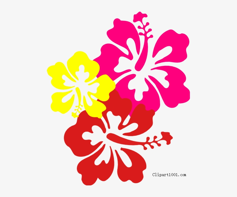Free Hawaiian Flower Clip Art Three Flowers Printable - Hibiscus