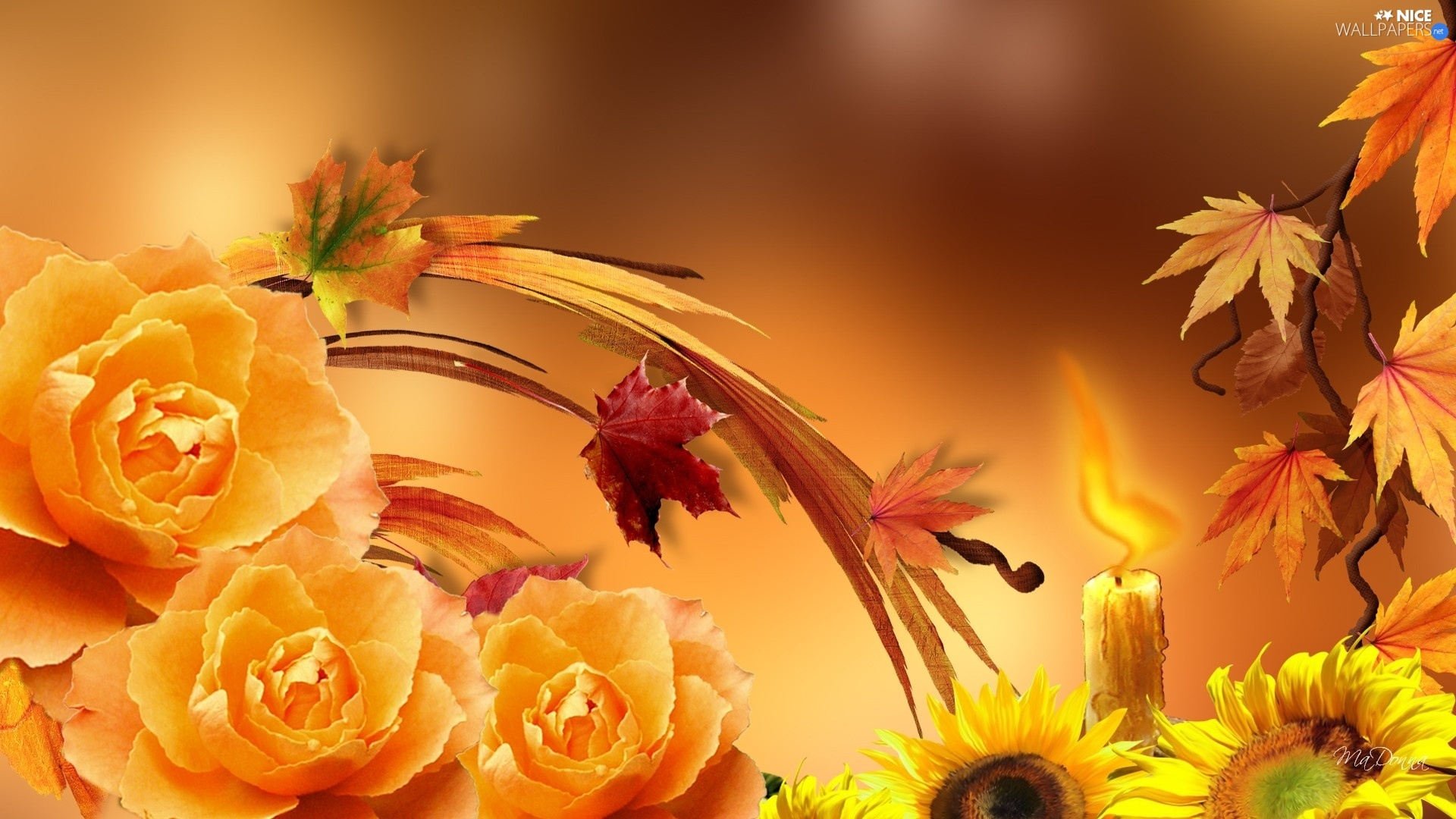 Fall Themed Computer Wallpaper Autumn Nice Sunflowers Leaf Roses Nice Wallpapers