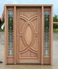 Exterior Wood Doors with Wrought Iron Glass Sidelights