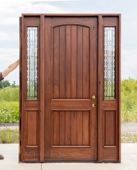 Rustic Teak Exterior Wood Doors with Sidelites