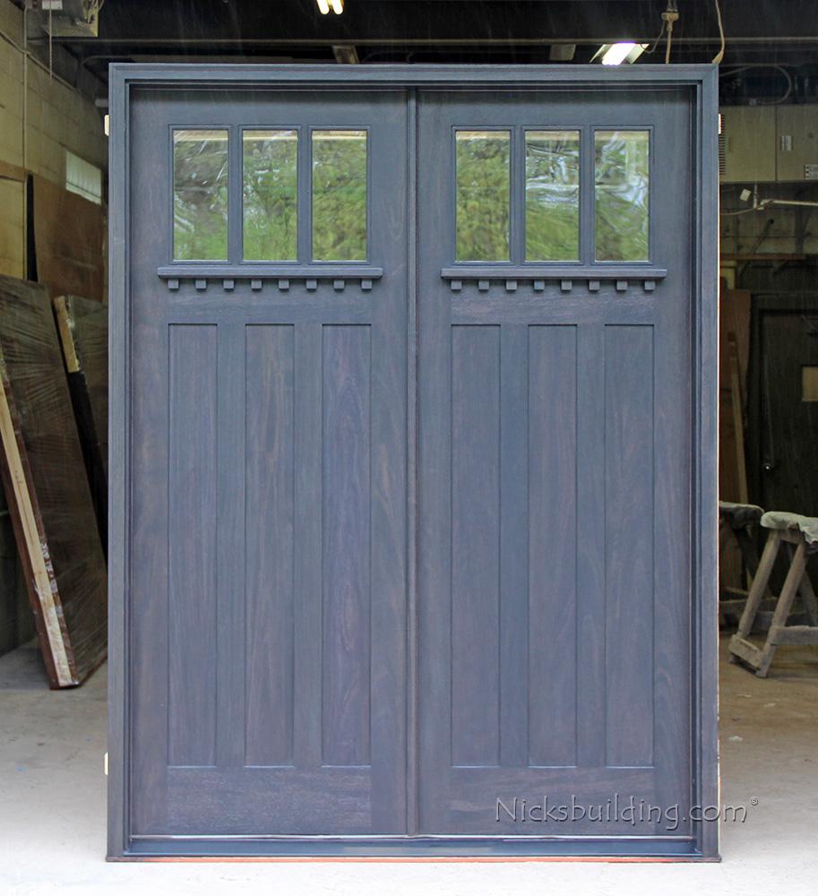 Craftsman double doors for Double wood front doors