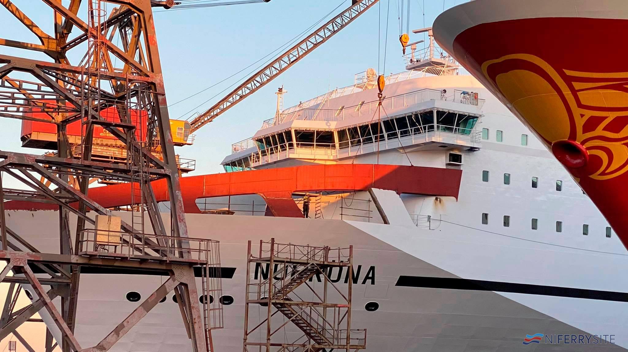 New structural work on NORRÖNA. Image: Smyril Line Facebook