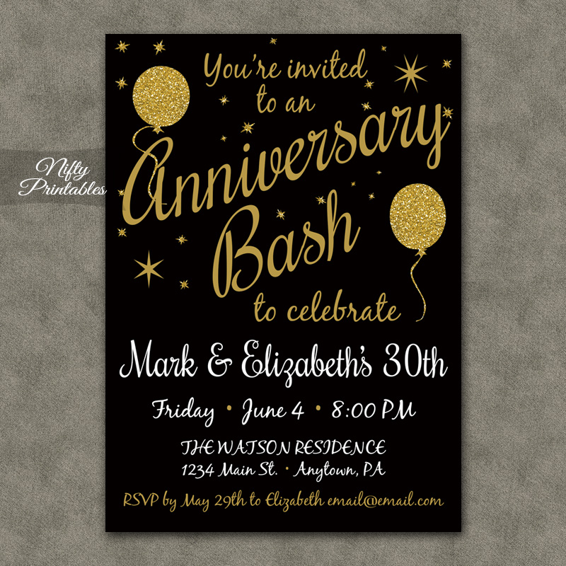 Gold Glitter Balloon Anniversary Invitations - Nifty Printables