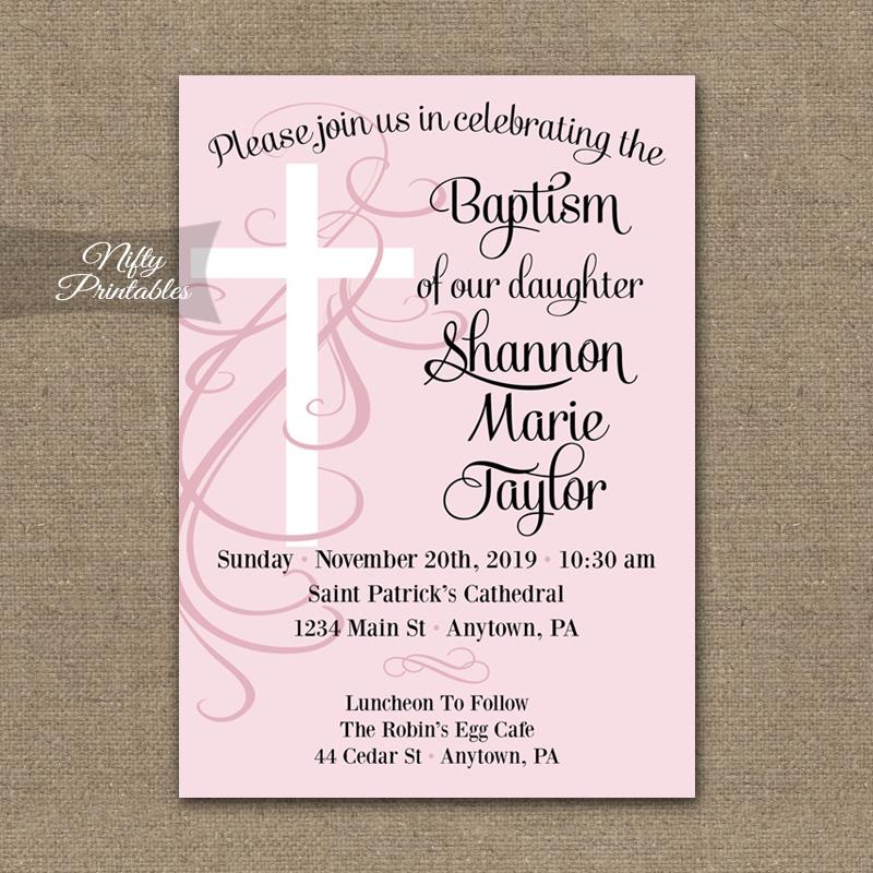 Pink Swirly Cross Girls Baptism Invitations - Nifty Printables