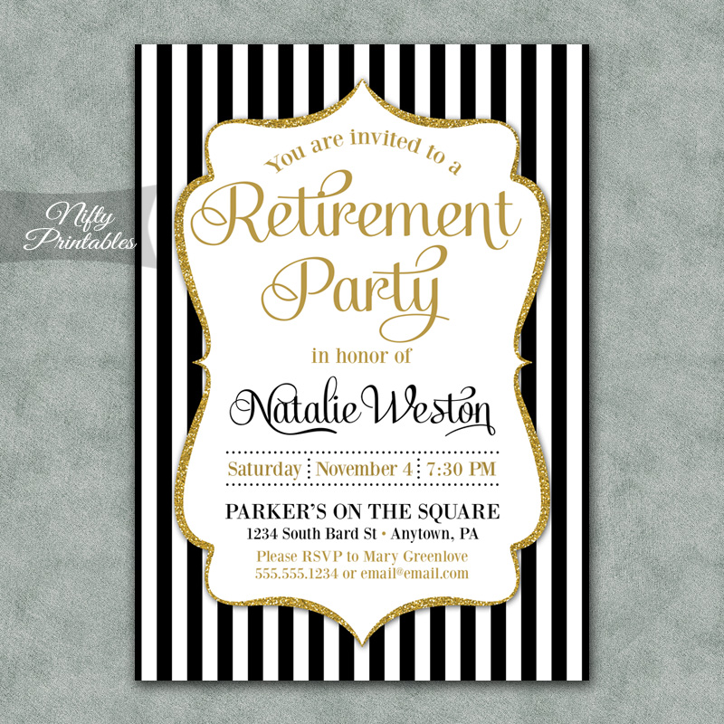 Black Gold Stripe Retirement Invitations - Nifty Printables