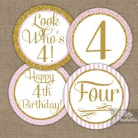 Printable 4th Birthday Cupcake Toppers - Pink Gold