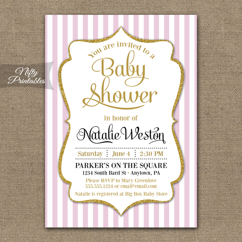 Pink Gold Baby Girl Shower Invitations - Nifty Printables