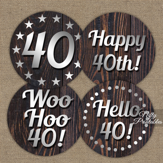 Printable 40th Mens Birthday Toppers - Wood Silver