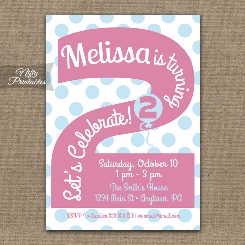 2nd Birthday Girls Pink Birthday Invitations - Nifty Printables