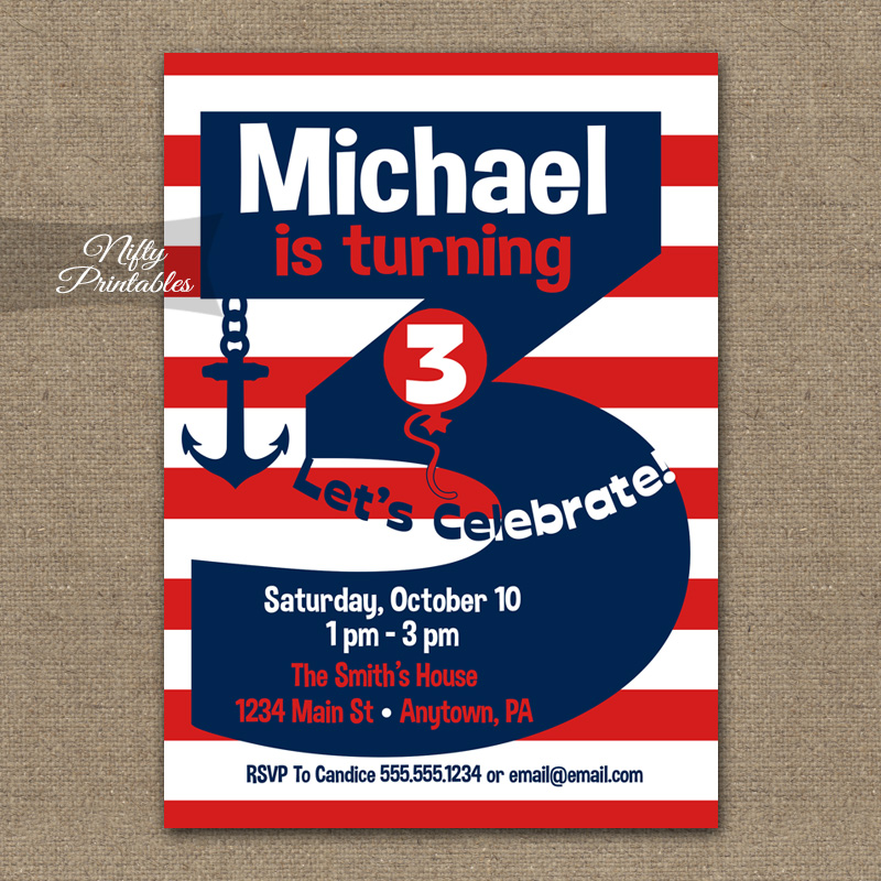 3rd Birthday Nautical Red White Blue Invitations - Nifty Printables