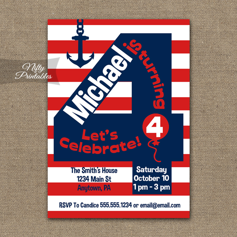 4th Birthday Nautical Red White Blue Invitations - Nifty Printables