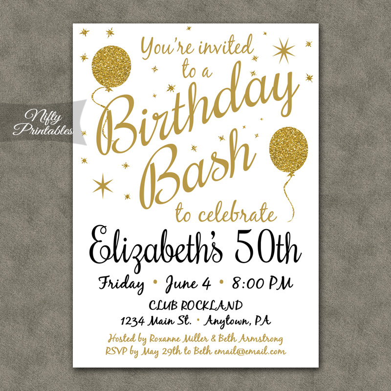 White Glitter Balloons Birthday Invitations - Nifty Printables