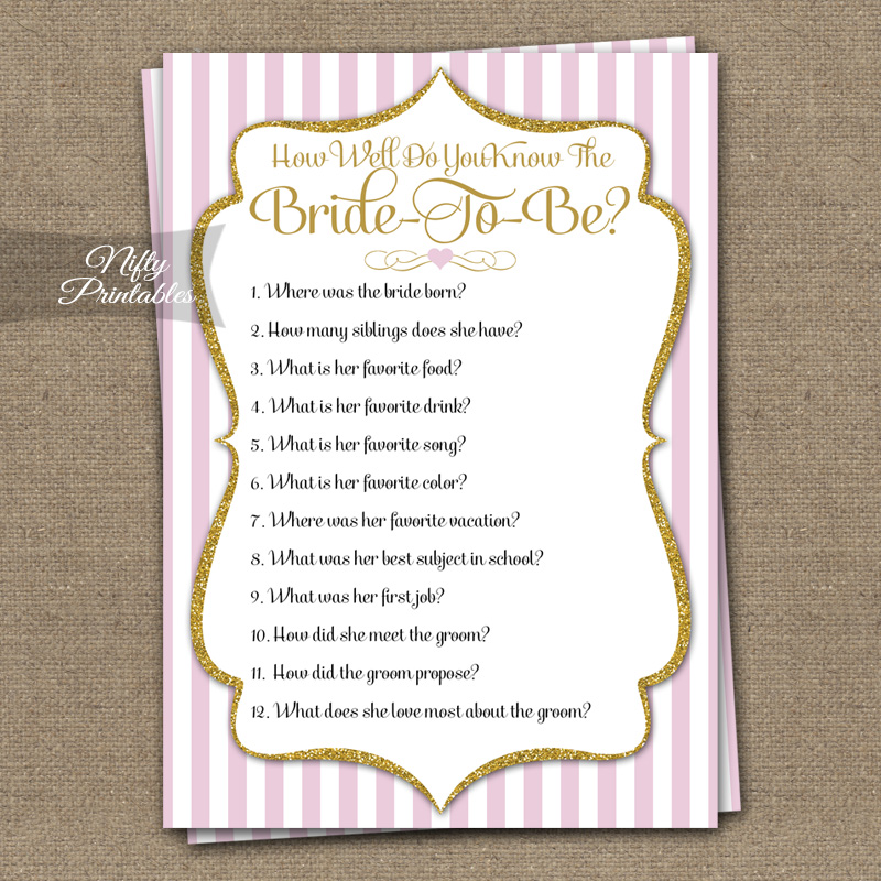 Printable How Well Do You Know The Bride Shower Game - Pink Gold