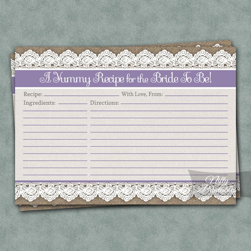 Printable Bridal Shower Recipe Cards - Burlap Lace Lavender