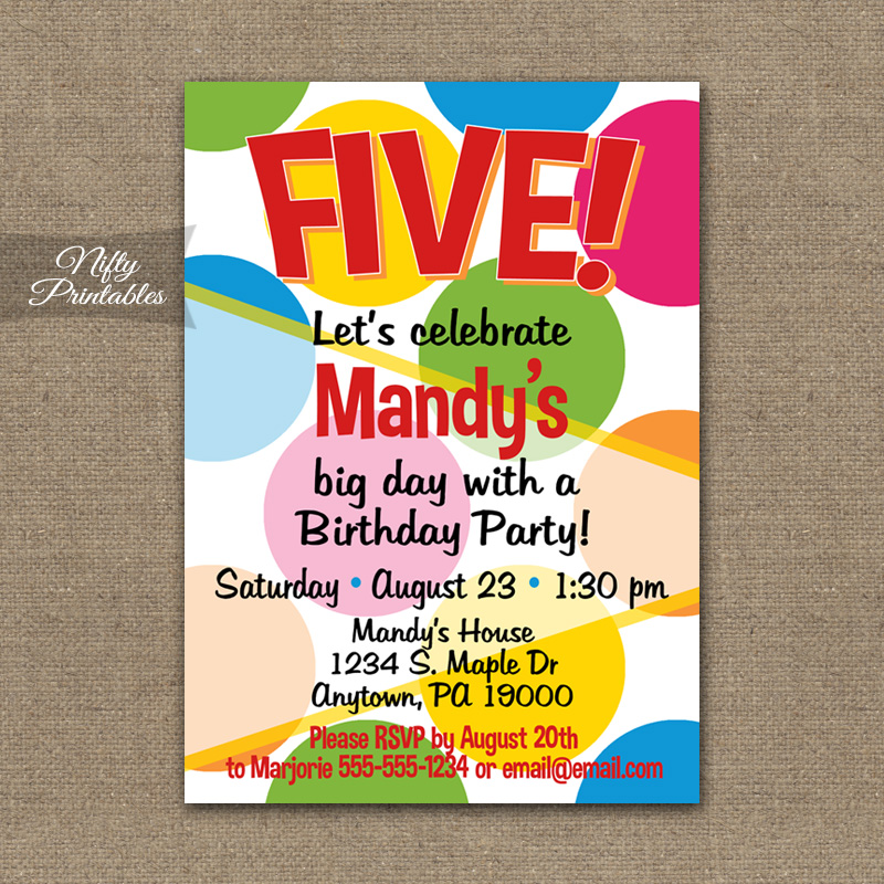 Colorful Dots Birthday Invitations - Nifty Printables