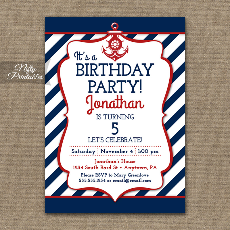 Red White Blue Nautical Birthday Invitations - Nifty Printables