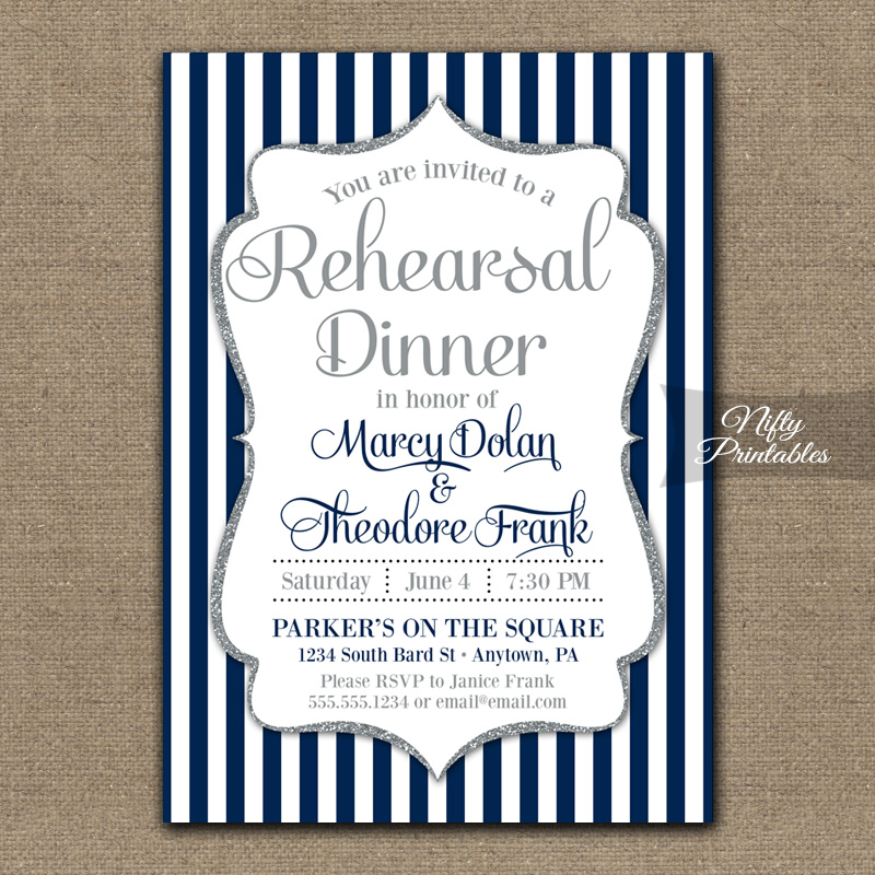 Navy Blue Silver Wedding Rehearsal Dinner Invitations - Nifty Printables
