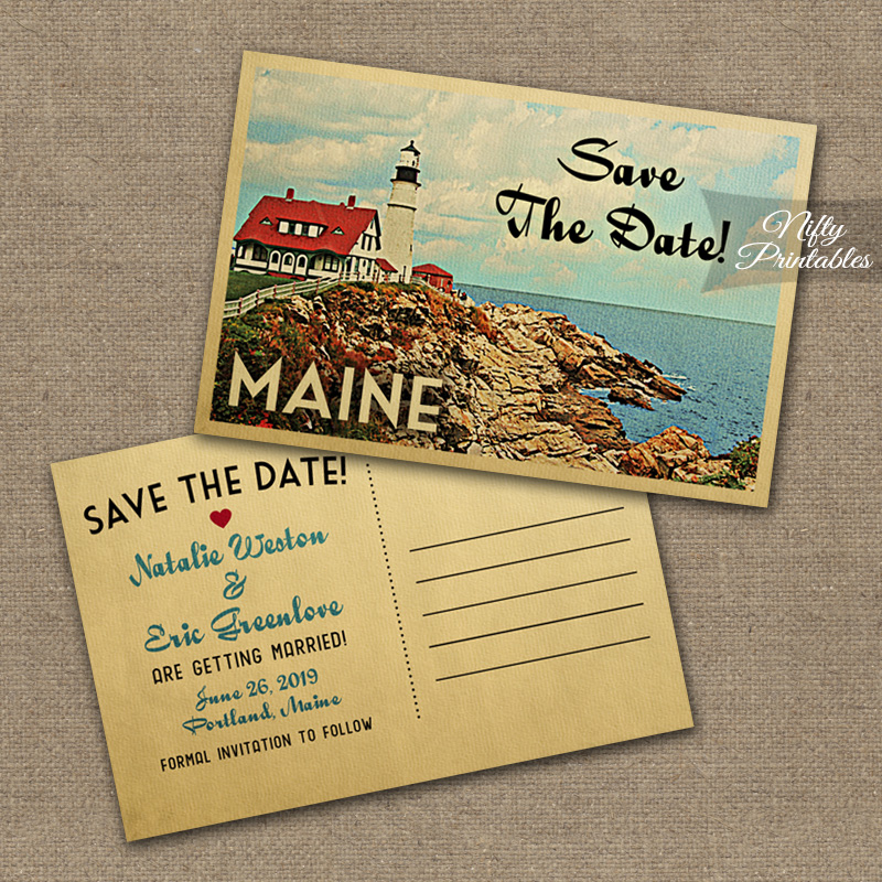 Maine Save The Date Postcards VTW - Nifty Printables - save date postcard
