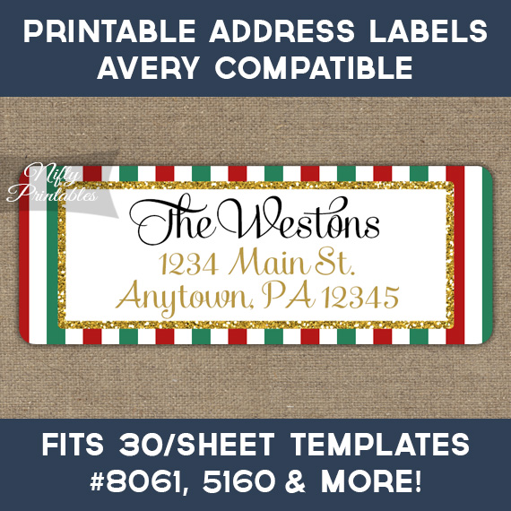 Printable Christmas Address Labels - Red Green Gold - Avery - free christmas return address labels template