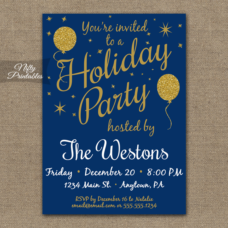 Holiday Party Invitations - Blue Gold Glitter Balloons - Nifty