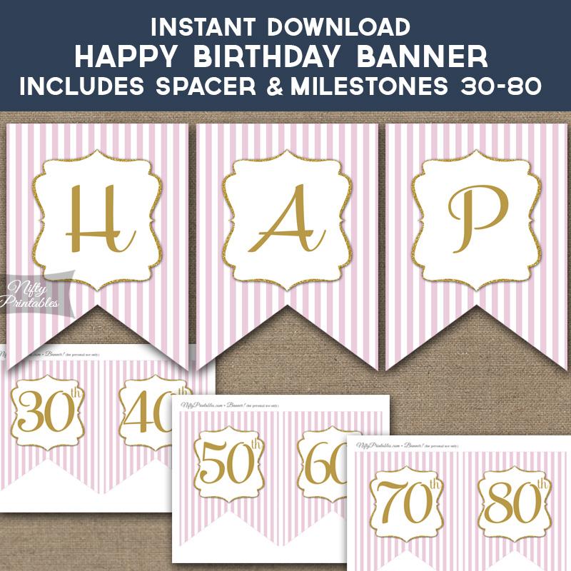 Printable Happy Birthday Banner - Pink  Gold