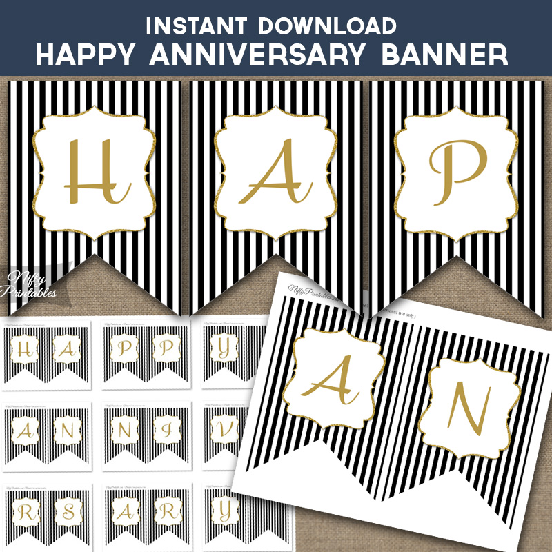 Printable Happy Anniversary Banner - Black  Gold