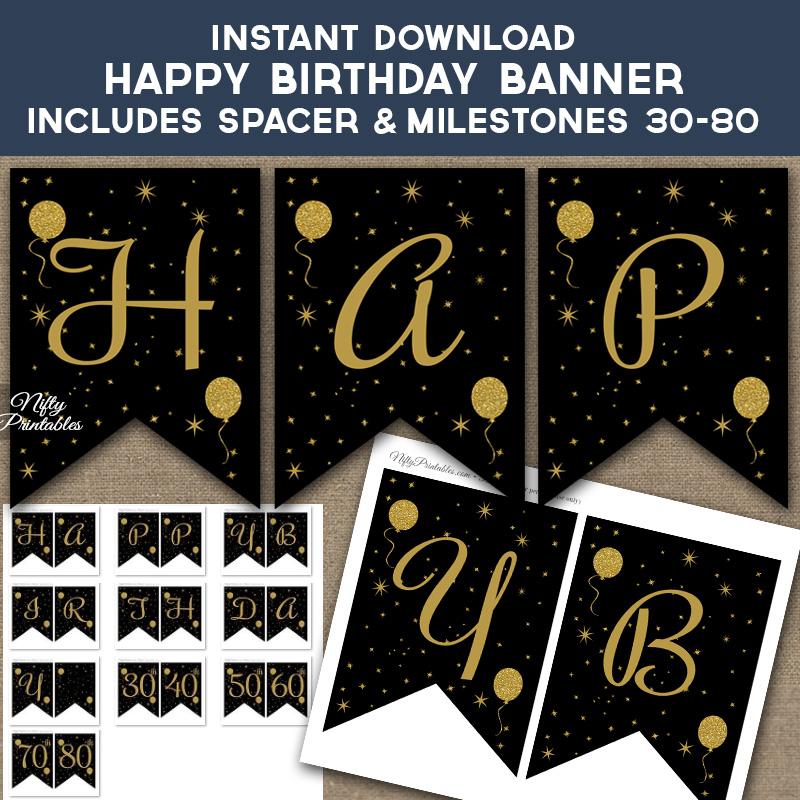 Printable Glitter Balloons Happy Birthday Banner - Black  Gold