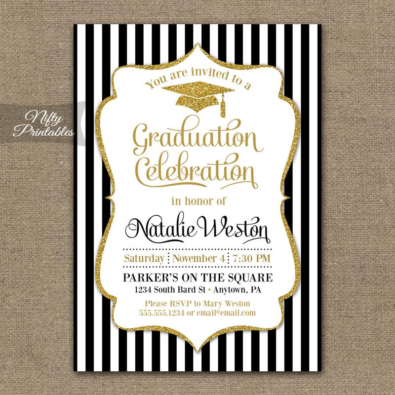 Black  Gold Graduation Invitations - Nifty Printables