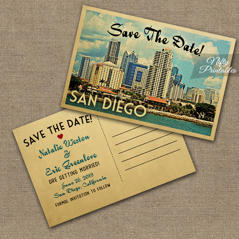 San Diego Save The Date Postcards VTW - Nifty Printables - save date postcard