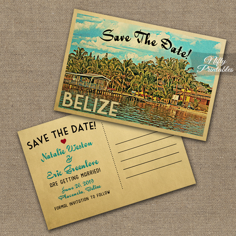 Belize Save The Date Postcards VTW - Nifty Printables - save date postcard