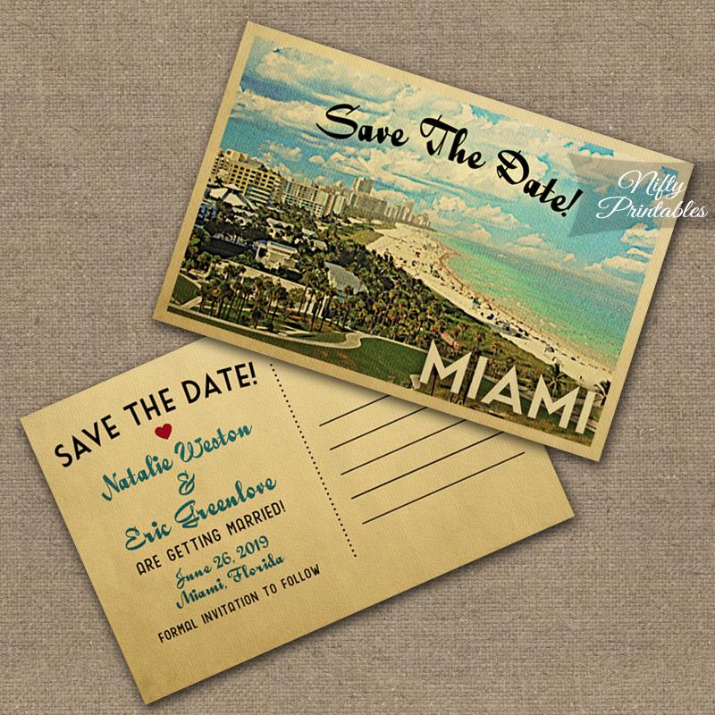 Miami Florida Save The Date Postcards VTW - Nifty Printables - save date postcard