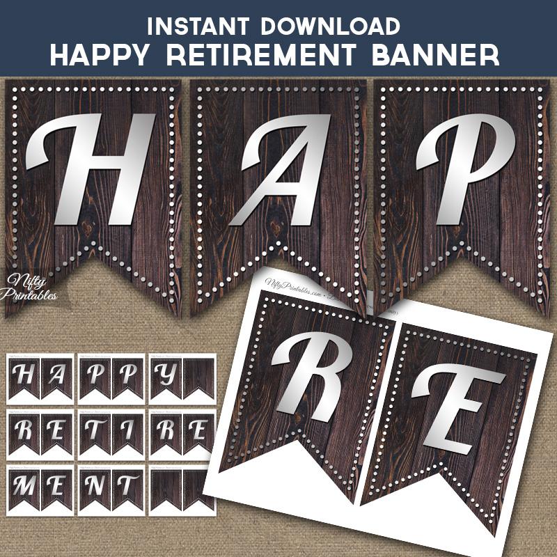 Printable Happy Retirement Banner - Rustic Wood Silver