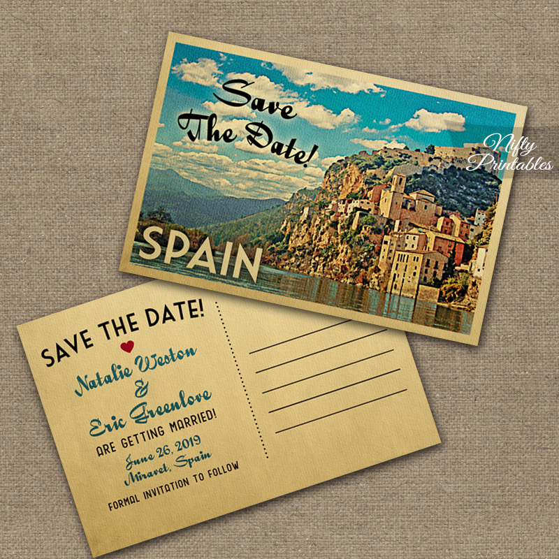 Spain Save The Date Postcards VTW - Nifty Printables