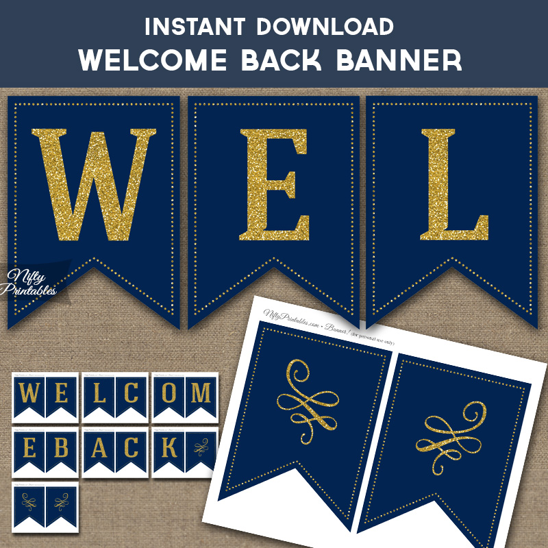 Printable Welcome Back Banner - Navy Blue  Gold