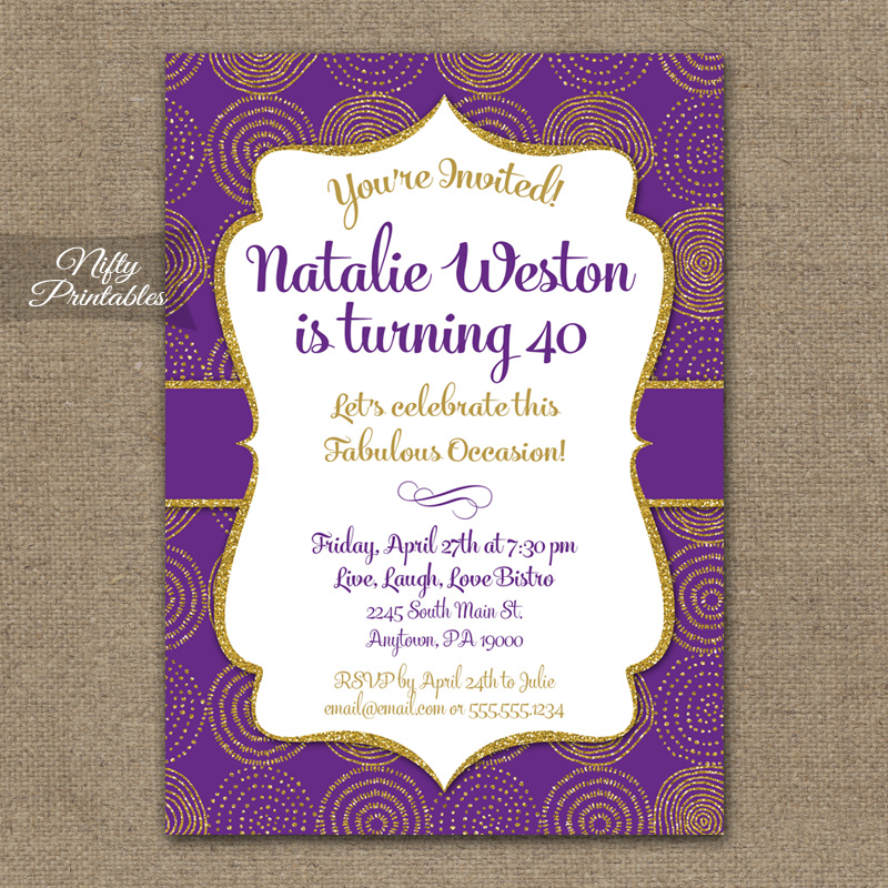 Purple  Gold Birthday Invitations - Nifty Printables
