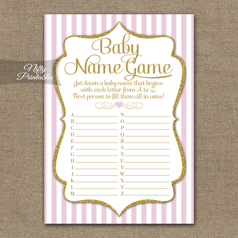 Printable The Baby Name Game - Pink Gold