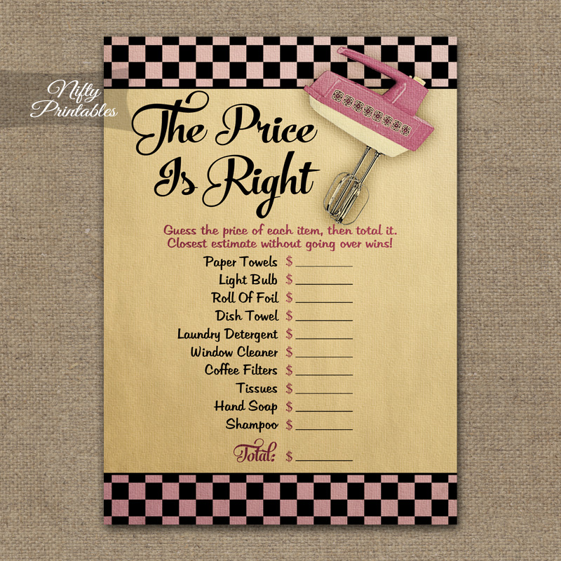 Printable Price Is Right Bridal Shower Game - Kitchen Shower