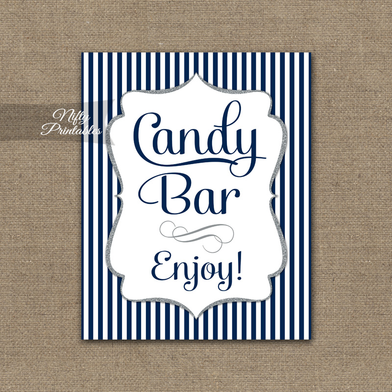 Printable Candy Buffet Sign - Navy Blue Silver Stripe