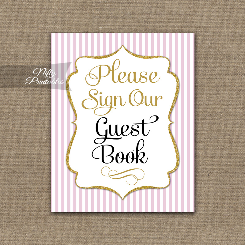 Printable Guest Book Sign - Pink Gold