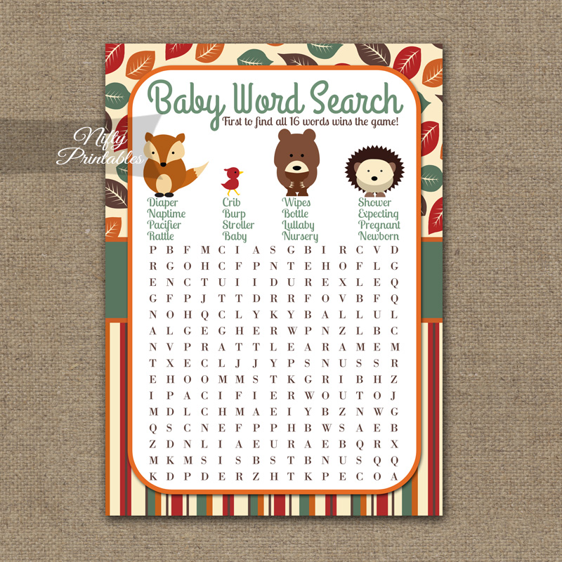 Printable Baby Shower Word Search Game - Woodland Baby