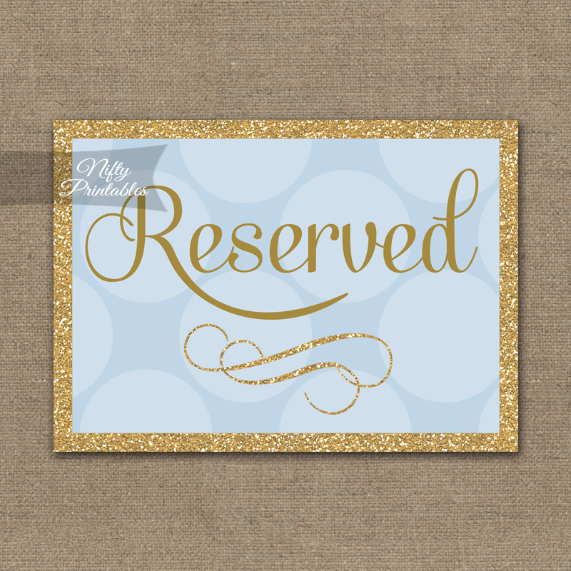 Printable Reserved Sign - Blue Gold Dots