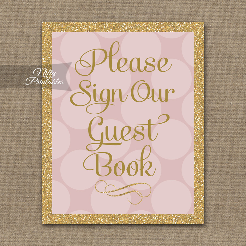 Printable Guest Book Sign - Pink Gold Dots