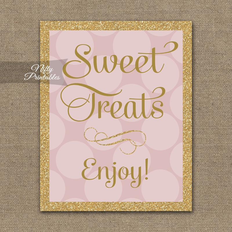 Printable Sweet Treats Dessert Sign - Pink Gold Dots