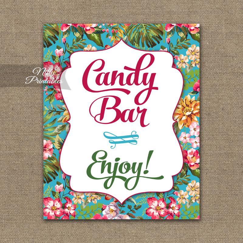 Printable Candy Buffet Sign - Hawaiian Tropical Floral