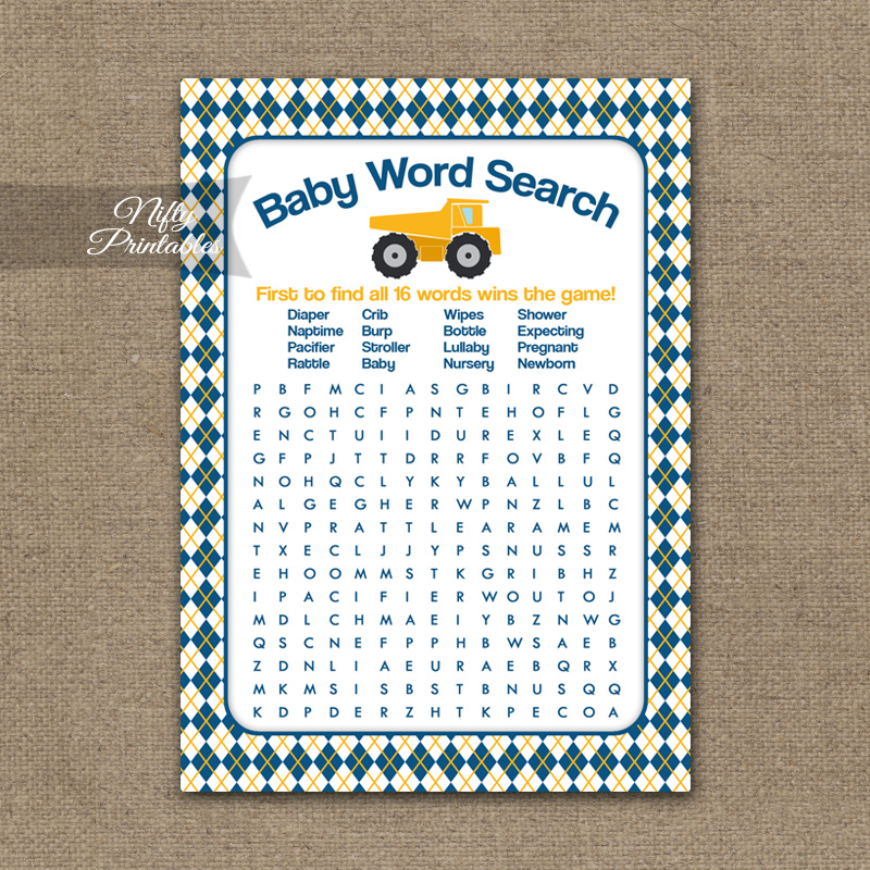 Printable Baby Shower Word Search Game - Construction