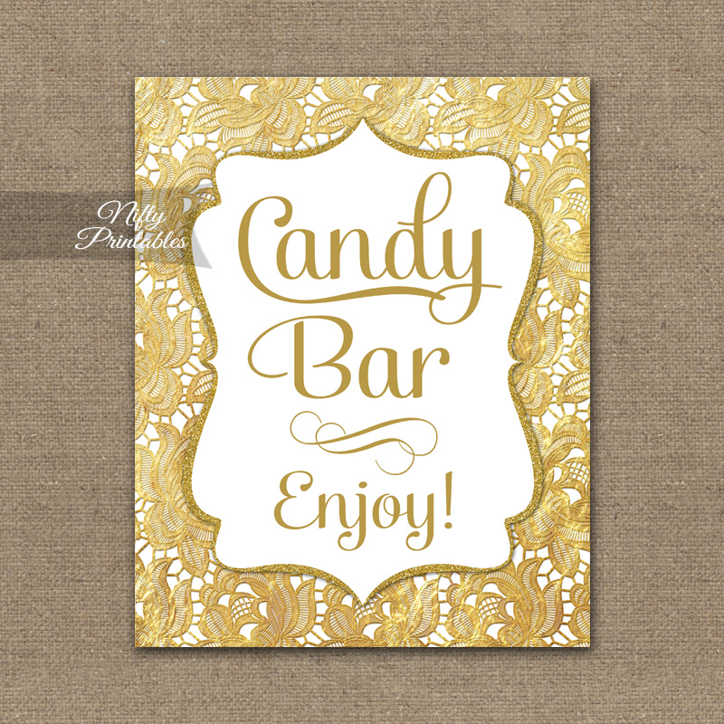 Candy Buffet Sign - Gold Lace - Nifty Printables