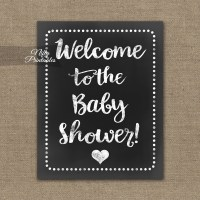 Baby Shower Welcome Sign - White Chalkboard - Nifty Printables