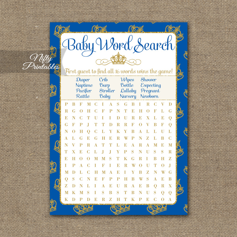 Baby Shower Word Search Game - Royal Baby Shower - Nifty Printables