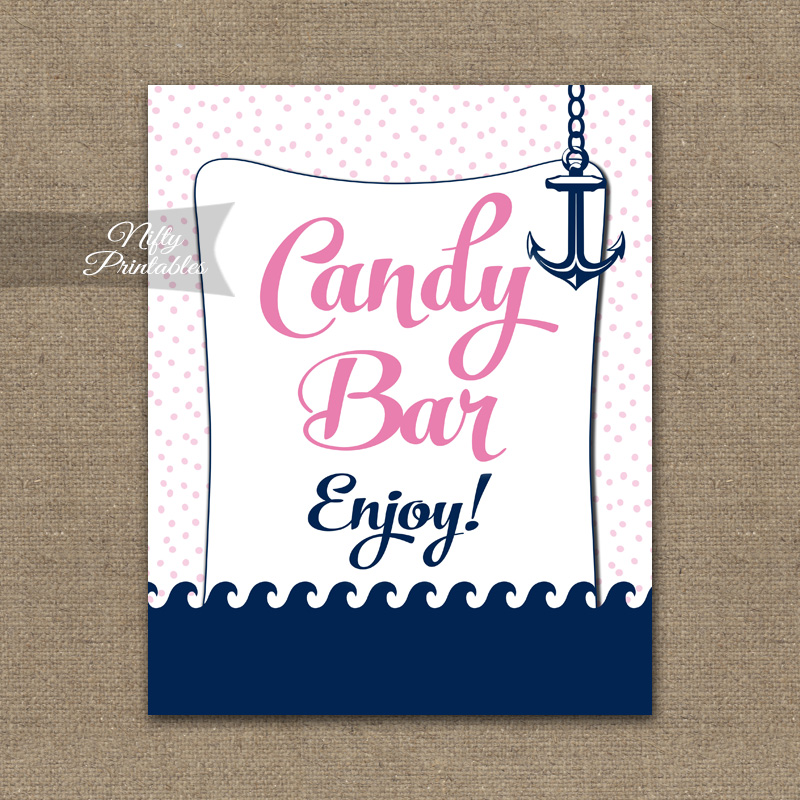 Candy Buffet Sign - Pink Nautical - Nifty Printables