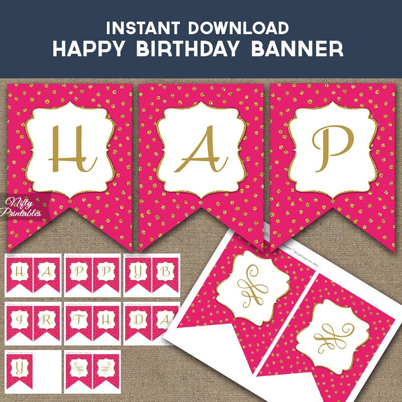 Happy Birthday Banner - Hot Pink Gold Dots - Nifty Printables